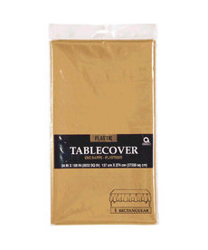 Plastic Table Cover: Rectangle - Gold