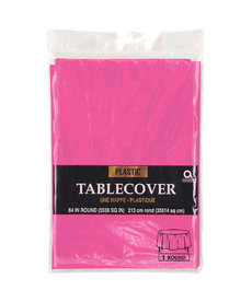 Plastic Table Cover: Round - Bright Pink