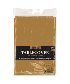 Plastic Table Cover: Round - Gold