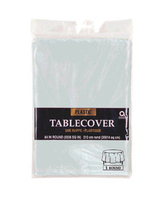 Plastic Table Cover: Round - Silver