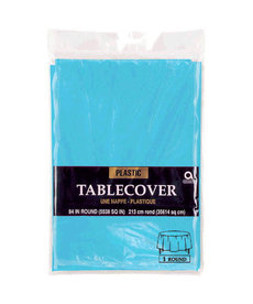 Plastic Table Cover: Round - Caribbean Blue
