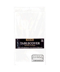 Plastic Table Cover: Rectangle - White