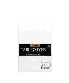 Plastic Table Cover: Round - White
