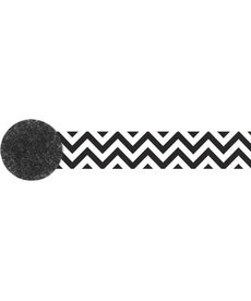 81' Crepe Streamer: Chevron - Black/White
