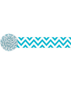 81' Crepe Streamer: Chevron - Caribbean Blue