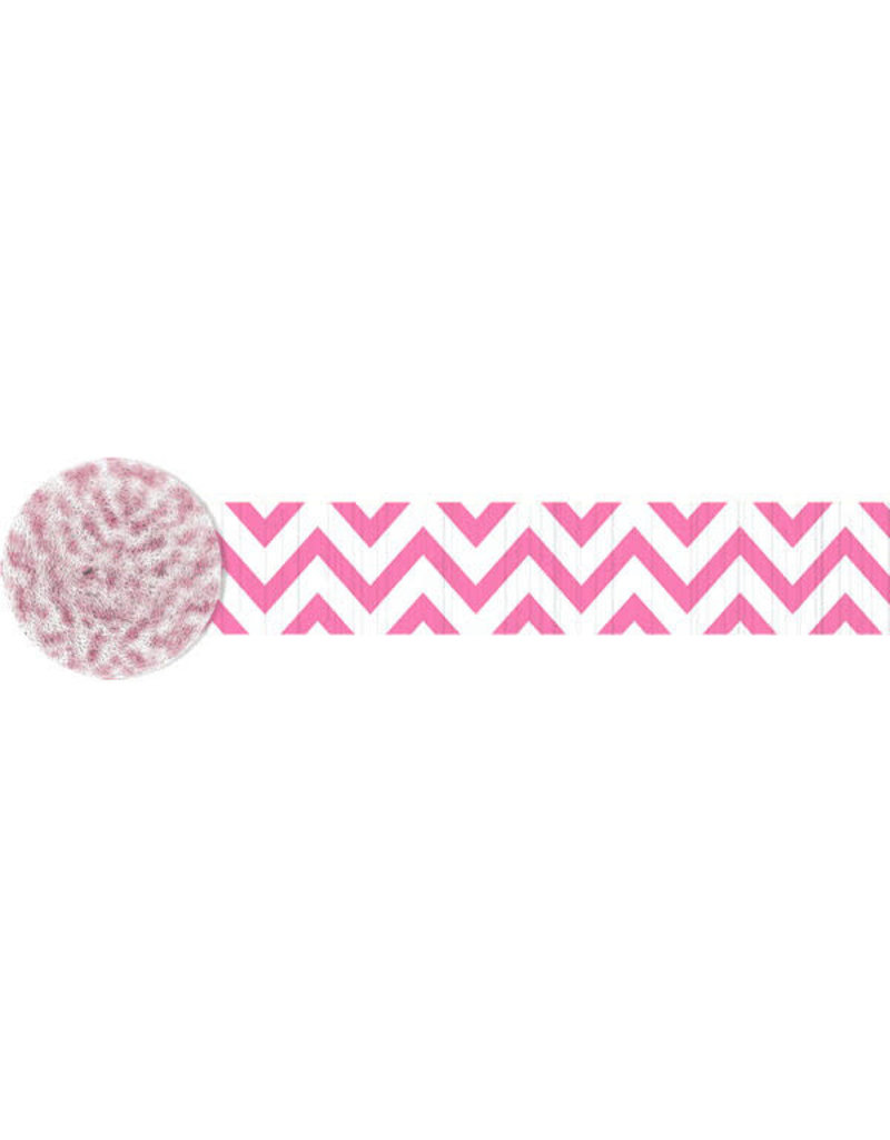 81' Crepe Streamer: Chevron - Pink