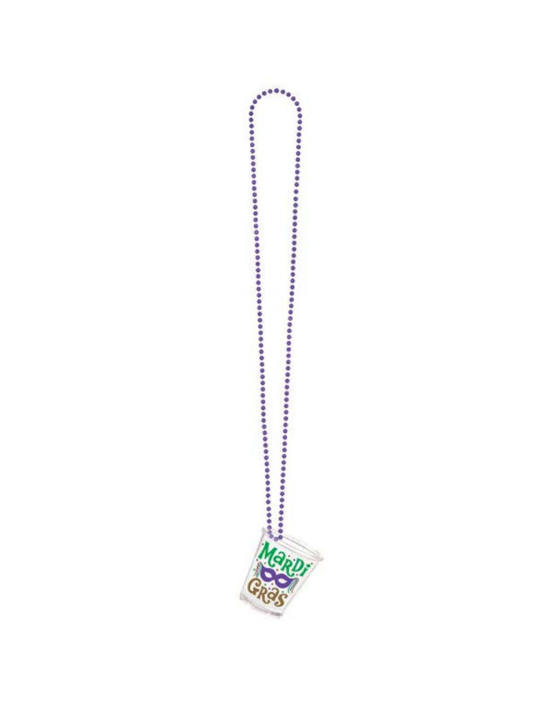"36"" Mardi Gras Shot Glass with Bead Necklace"
