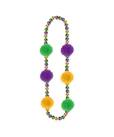"Amscan 31"" Mardi Gras Beads with Pom Poms"
