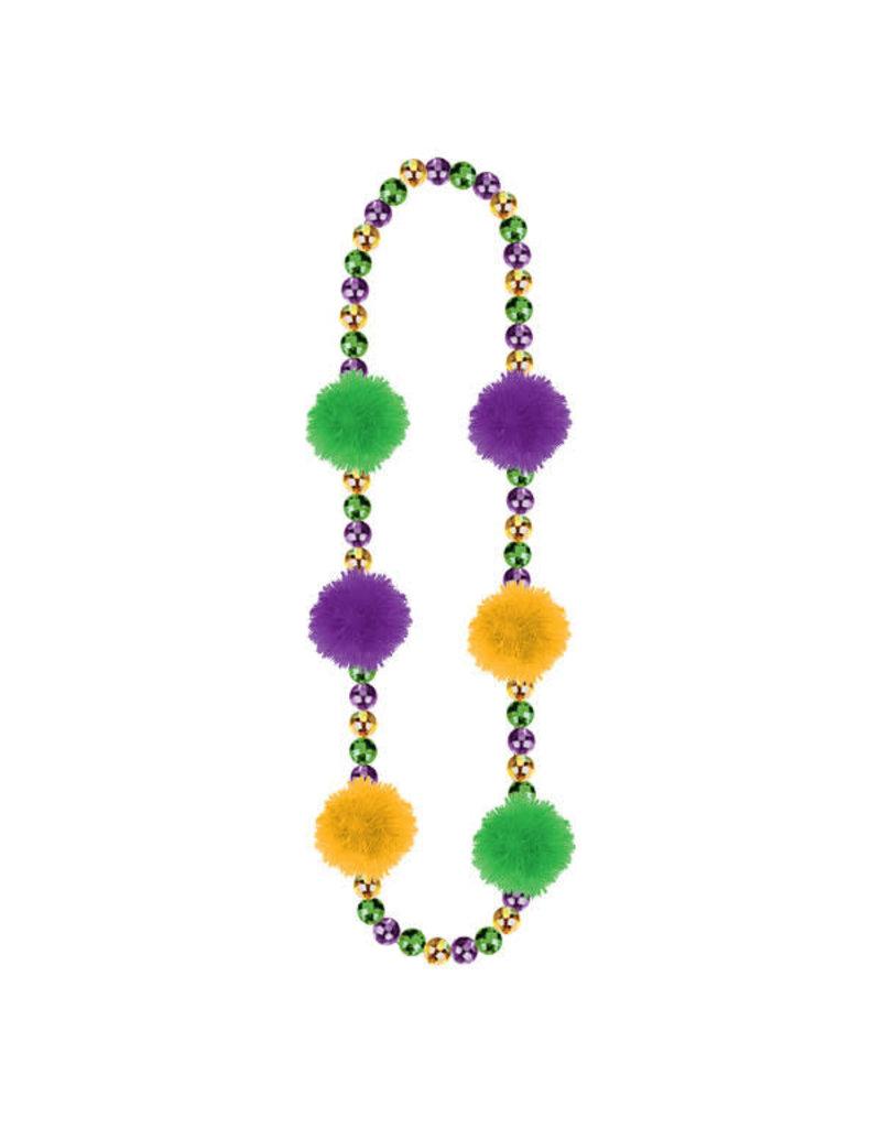 "Amscan 31"" Mardi Gras Beads with Pom Poms"