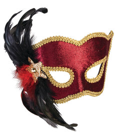 Carnival Maroon Half Mask with Black Feathers