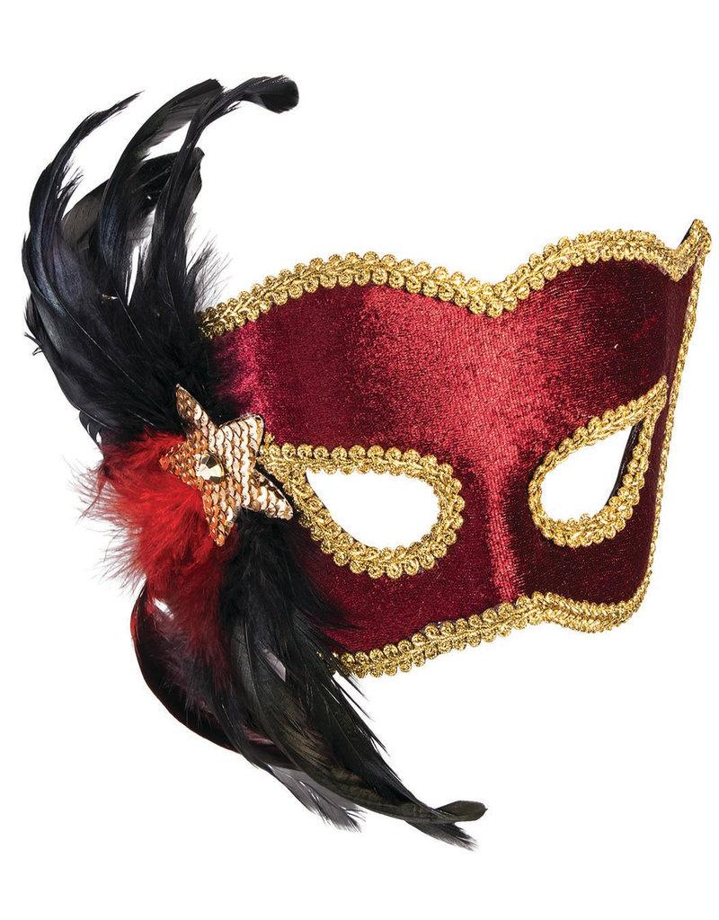 Carnival Half Mask w/ Black Feathers: Maroon