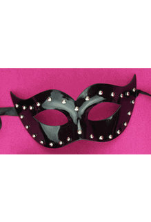 Leather Michelle Mask with Studs: Black