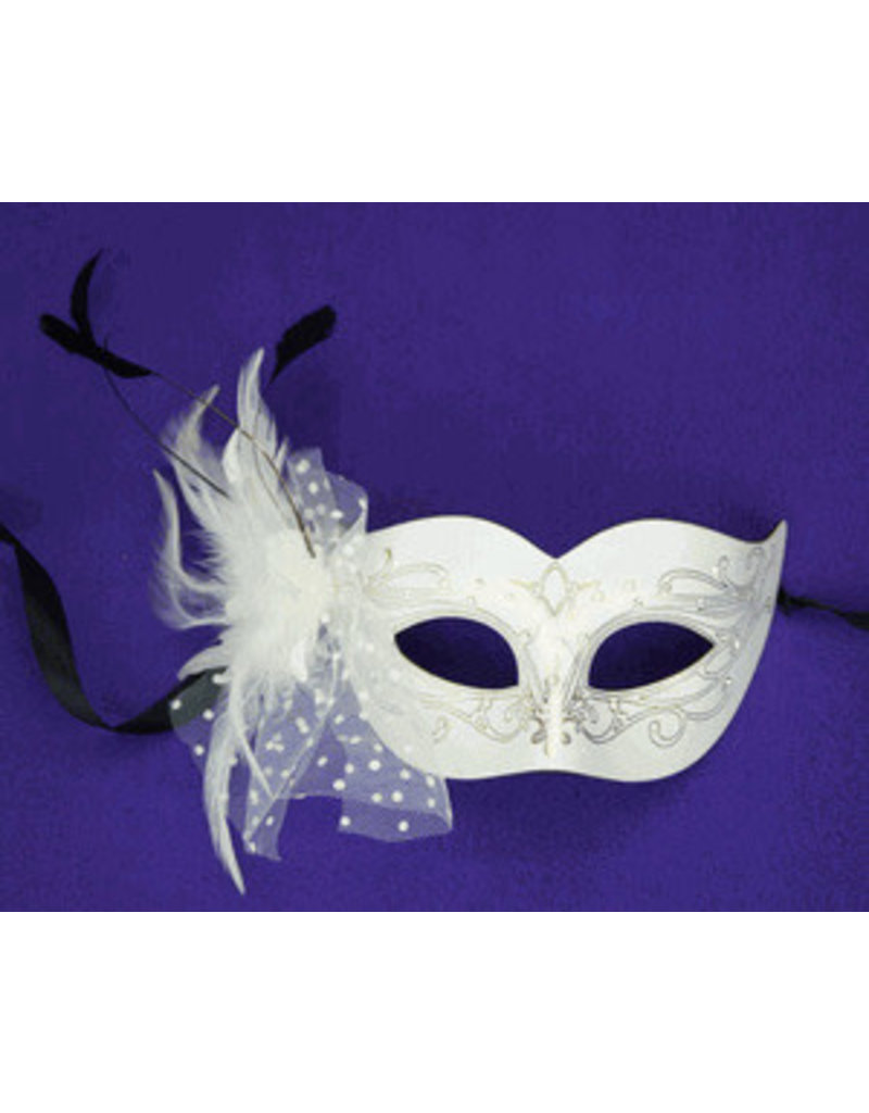 Brulee Eye Mask with Feathers: White
