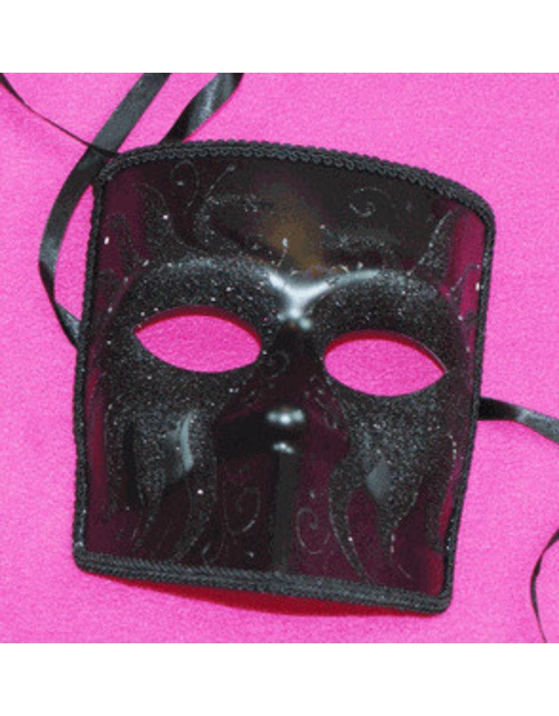 Darkness El Medico Mask with Glitter: Black