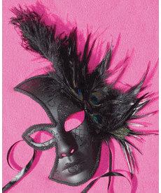 Midnight Half Mask Black w/ Feathers