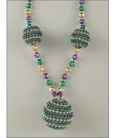 """42"""" Mardi Gras Necklace with 3 Beaded Balls"""