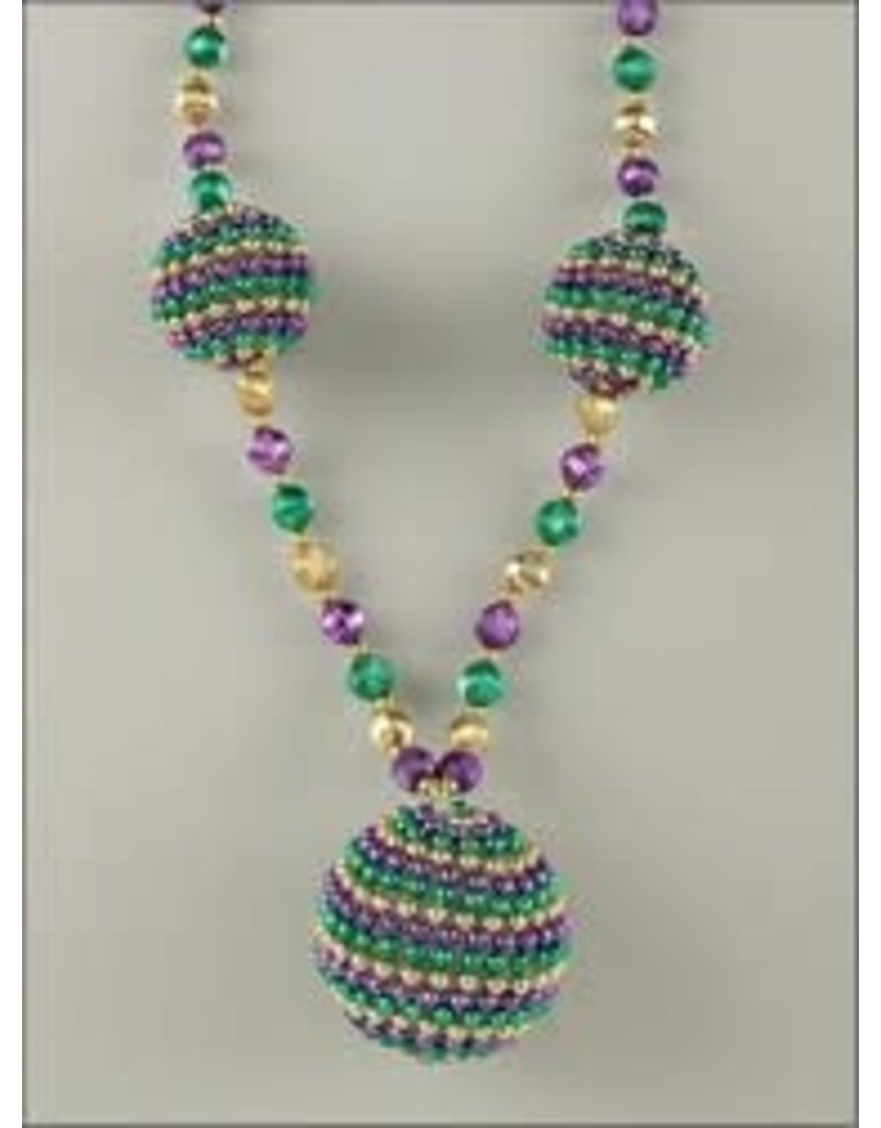"42"" Mardi Gras Necklace w/ 3 Beaded Balls"
