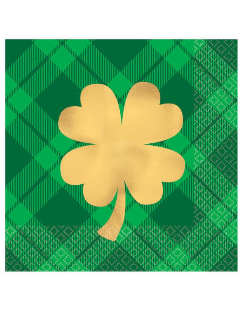 Beverage Napkins: St Pat's Day - Gold Shamrock (16ct.)