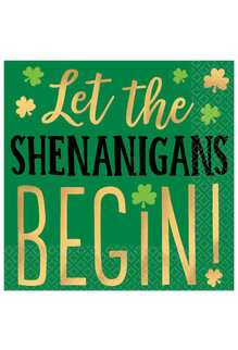 "Beverage Napkins: St. Pat's Day - ""Let The Shenanigans Begin!"" (16ct.)"