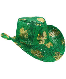Sequin Cowboy Hat: St. Pat's Day - Green/Gold