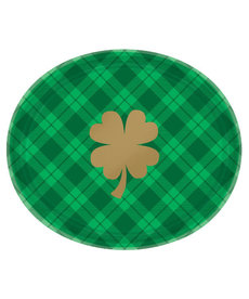 St. Patrick's Day Plaid Oval Plates