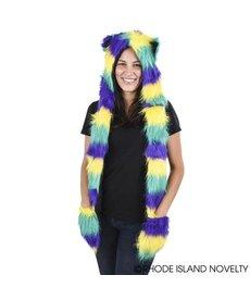Mardi Gras Furry Scarf Hat