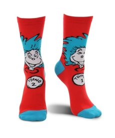 elope Dr. Seuss The Cat in the Hat Thing 1&2 Crew Socks: Adult