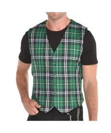 St. Patrick's Day Plaid Vest: Adult Standard