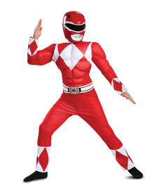Disguise Costumes Boy's Classic Red Ranger Costume with Muscles