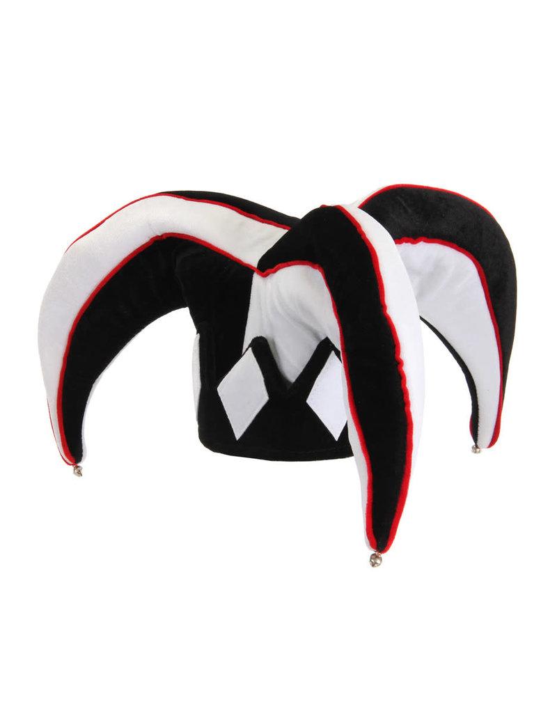 elope Court Jester Plush Hat Black & White