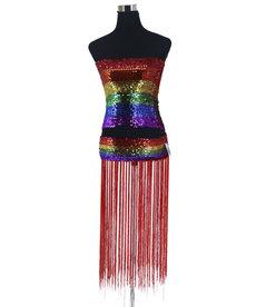 Stretchy Belt w/ Fringes: Rainbow - O/S