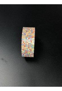 10 Row Rhinestone Wire Bracelet: Rainbow