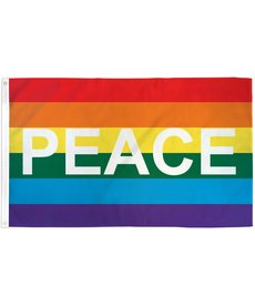 Rainbow Peace Letters Pride Flag (3x5FT)