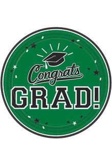 "9"" Round Graduation Plates: Green (18ct.)"