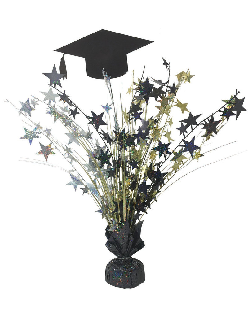 "18"" Special Occasion Graduation Centerpiece: Black/Gold/Silver"