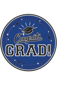 "7"" Round Graduation Plates: Blue (18ct.)"