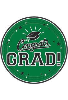 "7"" Round Graduation Plates: Green (18ct.)"