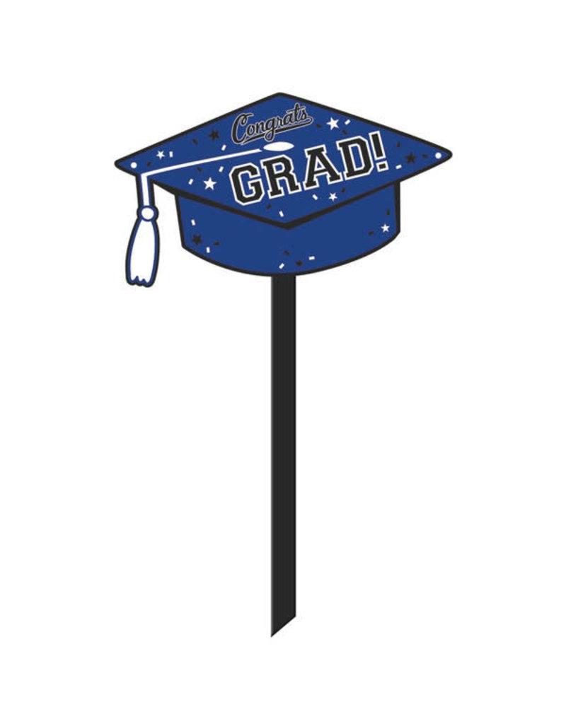 Congrats Graduation Yard Sign: Blue