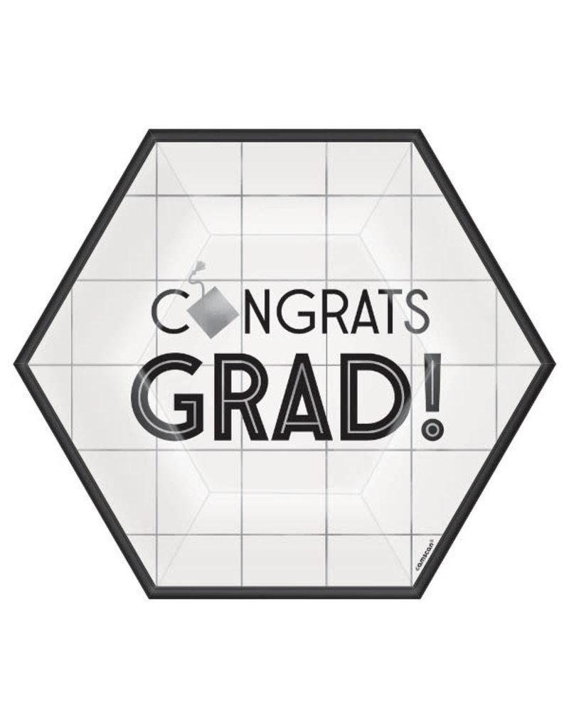 "7"" Graduation Hexagon Plates: White (18ct.)"