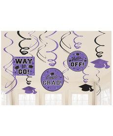 Graduation Swirl Decorations: Purple