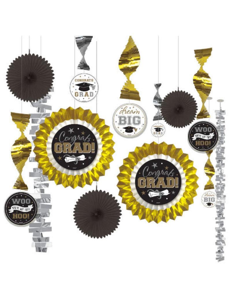 Graduation Decorating Kit - Black/Silver/Gold