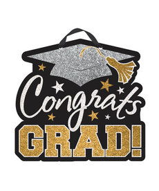 Graduation Glitter Congrats Sign: Black/Silver/Gold