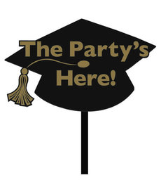 "Plastic Yard Sign: ""The Party's Here!"" - Black/Gold"