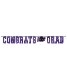 Graduation Letter Banner: Purple