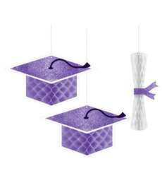 Graduation Honeycomb Hanging Decorations: Purple