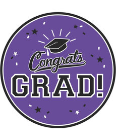 "9"" Round Graduation Plates: Purple (18ct.)"