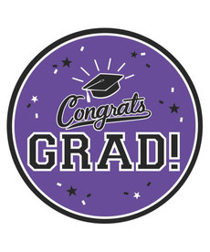 "7"" Round Graduation Plates: Purple (18ct.)"