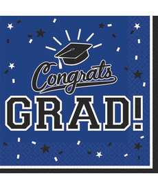 Graduation Beverage Napkins: Blue (36ct.)