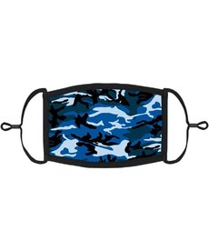 Youth Fabric Face Mask: Blue Camo