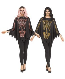 Fun World Costumes Adult Glitter Skeleton Poncho